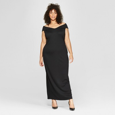Women's Plus Size Off the Shoulder Knit Maxi Dress - Who What Wear™ Black