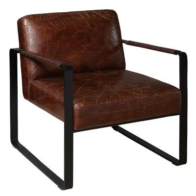 leather chair modern ergonomic singapore review style distressed brown black metal frame arm pulaski target