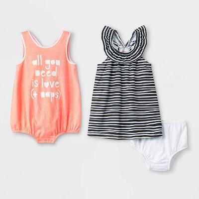 Baby Girls' 2pk Sleeveless Loop Back Ruffle Neck Rompers - Cat & Jack™ Black/Peach