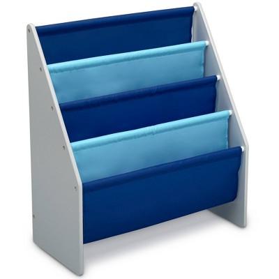 delta children sling book rack bookshelf for kids gray blue