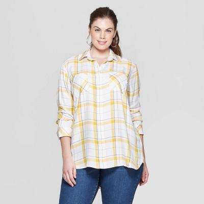 Women's Plus Size Plaid Long Sleeve Collared Button-Down Shirt - Ava & Viv™ Yellow