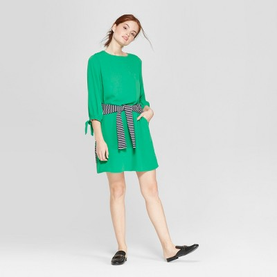 Women's 3/4 Sleeve Crew Neck Crepe Dress - A New Day™