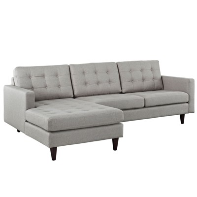 empress leftfacing upholstered sectional sofa light gray modway