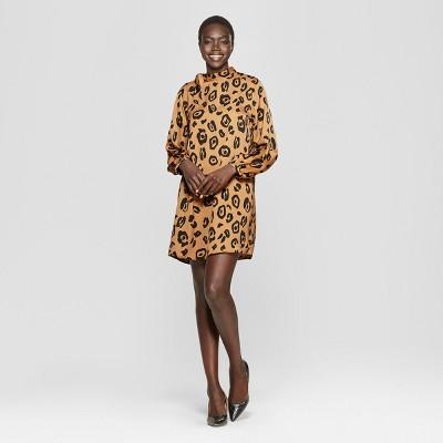 Women's Leopard Print Long Sleeve Tie Shift Mini Dress - Who What Wear™ Brown
