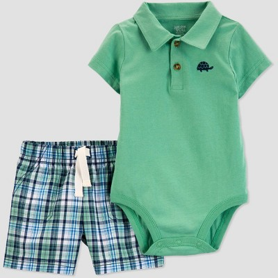 Baby Boys' 2pc Plaid Turtle Shorts Set - Just One You® made by carter's Green
