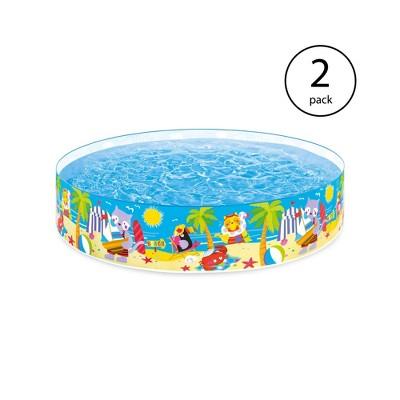 Intex Seahorse Buddies Kids 8 Foot Instant Snapset Kiddie Swimming Pool (2 Pack)