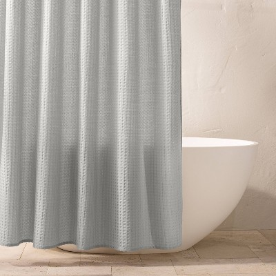 waffle shower curtain light gray casaluna