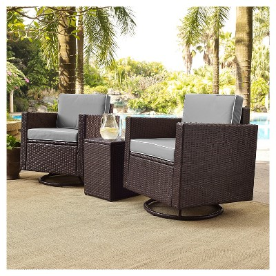 palm harbor 3pc all weather wicker patio conversation set w swivel chairs gray crosley