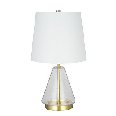 Clear Seeded Glass Table Lamp Brass (Lamp Only) - Cresswell Lighting