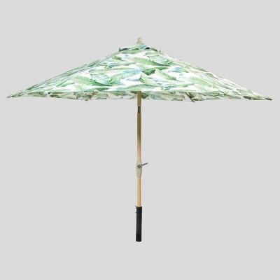 9 round vacation tropical patio umbrella duraseason fabric green threshold