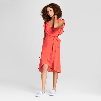 Women's Short Sleeve Ruffle Wrap Dress - A New Day™ Coral