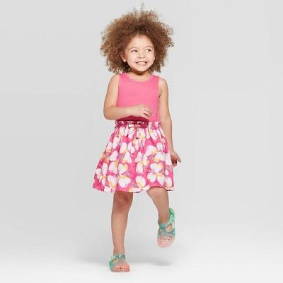 Toddler Girls' Floral Printed A-Line Dress - Cat & Jack™ Pink