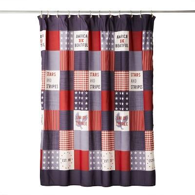 americana patchwork shower curtain skl home
