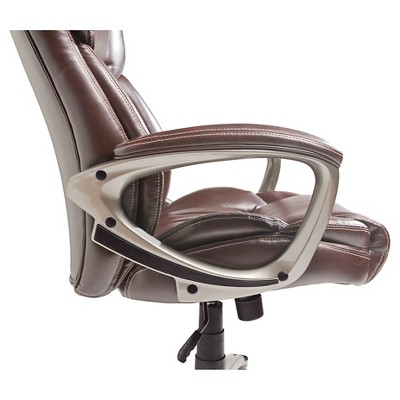 serta bonded leather executive chair burgundy covers biscuit brown target