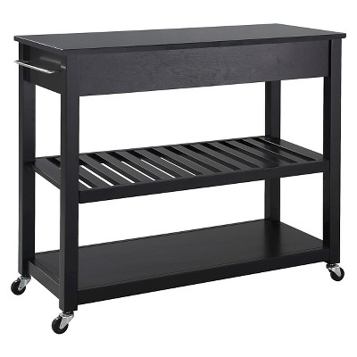 granite top kitchen cart amazon cabinet doors solid black island with optional stool storage crosley target