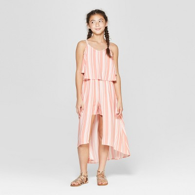 Girls' Cold Shoulder Striped Walk Through Romper - art class™ Peach