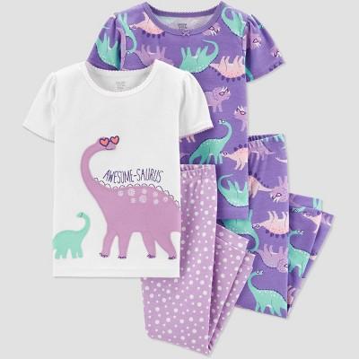 Baby Girls' 4pc Purple Dino Pajama Set - Just One You® made by carter's Purple/White