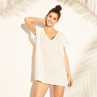 Cover 2 Cover Women's Tassel Trim Poncho Cover Up Dress