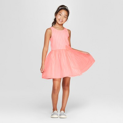 Girls' Stripe Dressy Dress - Cat & Jack™ Coral