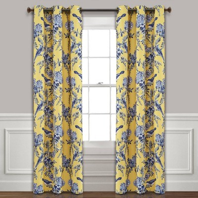 set of 2 84 x38 farmhouse bird and flower insulated grommet top blackout window curtain panels yellow blue lush decor