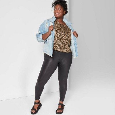 Women's Plus Size High-Rise Liquid Leggings - Wild Fable™ Black
