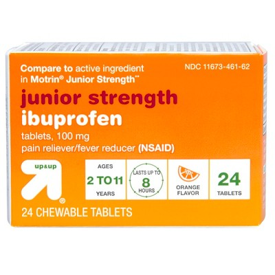 Junior strength ibuprofen nsaid pain reliever  fever reducer chewable tablets compare to motrin orange ct up also rh target
