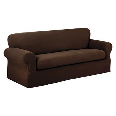 Chocolate Stretch Reeves Sofa Slipcover (2 Piece) - Maytex