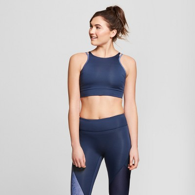 Women   high neck sports bra with back cut out joylab navy also target rh