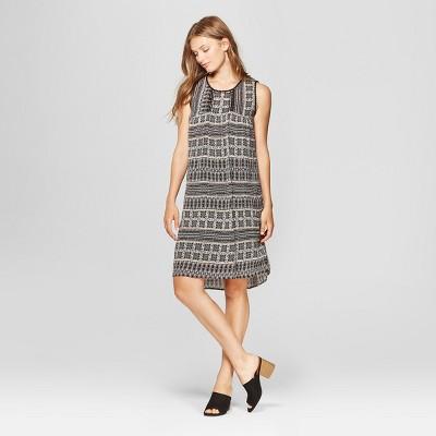 Women's Sleeveless Trimmed Printed Dress - John Paul Richard - Black/Tan