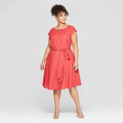 Women's Plus Size Short Sleeve Boat Neck Tie Waist Midi Dress - Who What Wear™