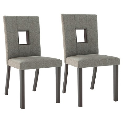 gray upholstered dining chairs swivel couch chair bistro wood sand set of 2 corliving