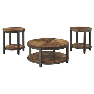 set of 3 roybeck table lights brown bronze signature design by ashley