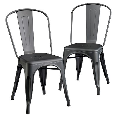 cafe chairs metal time out chair with timer dining set of 2 black sauder target