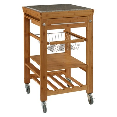 granite top kitchen cart knotty pine cabinets for sale with wood natural linon home decor target