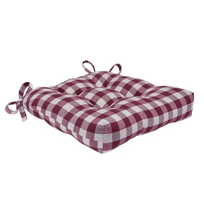 kate aurora country living gingham plaid checkered country farmhouse chair cushion pads 1 piece country burgundy