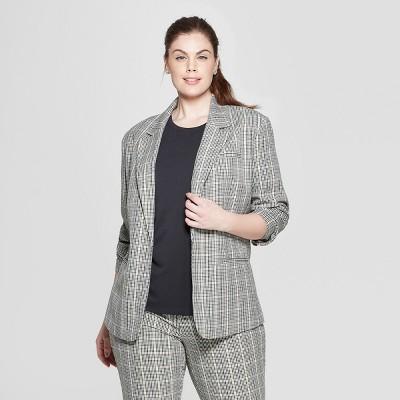Women's Plus Size Plaid Blazer - Ava & Viv™