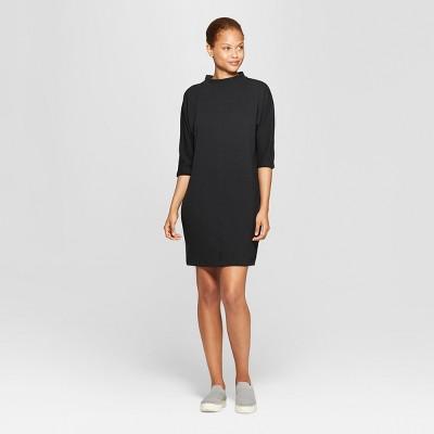 Women's Elbow Sleeve Mock Neck Knit Shirt Mini Dress - Prologue™ Black