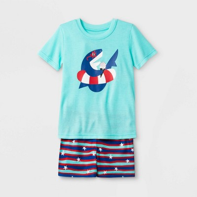 Toddler Boys' Shark Print Neon Top and Striped Shorts Pajama Set - Cat & Jack™ Aqua/Navy Blue