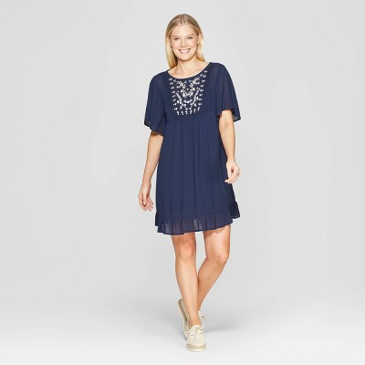 Women's Short Sleeve Crewneck Shift Midi Dress With Embroidery - Knox Rose™ Navy