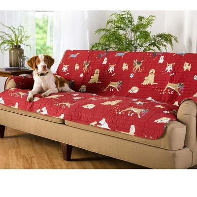 Protective Pet Friendly Sofa Cover With Non Slip Back & Quilted Cotton Face - Plow & Hearth