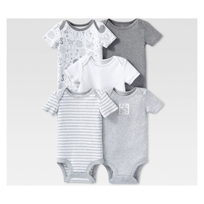 Lamaze Baby Organic Cotton 5pc Shorts sleeve Bodysuit Set - Gray