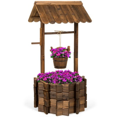 best choice products rustic wooden wishing well planter outdoor home decor for patio garden yard w hanging bucket