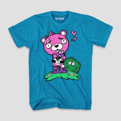 Boys' Fortnite Cuddle Leader Love Short Sleeve T-Shirt - Turquoise Heather