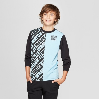 Boys' Wreck-It Ralph Split Long Sleeve T-Shirt - Blue/Black