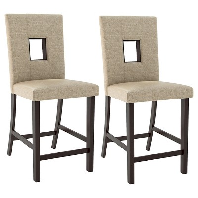 upholstered counter chairs swing chair diy bistro height dining wood woven cream set of 2 corliving
