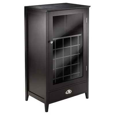 Bottle Slot Modular Bordeaux Wine Cabinet Wood/Black Espresso - Winsome