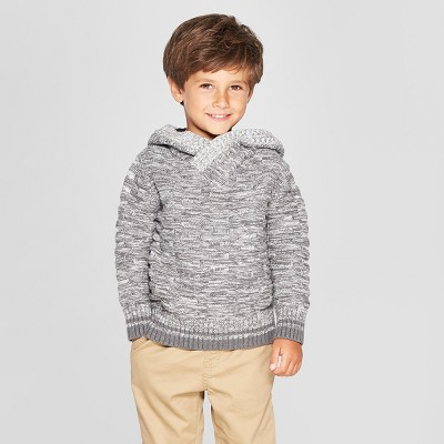Toddler Boys' Long Sleeve Pullover Sweater With Buffalo Hood And Check Lining - Cat & Jack™ Gray
