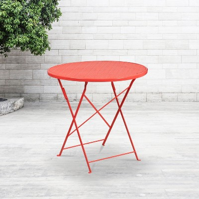 flash furniture commercial grade 30 round coral indoor outdoor steel folding patio table