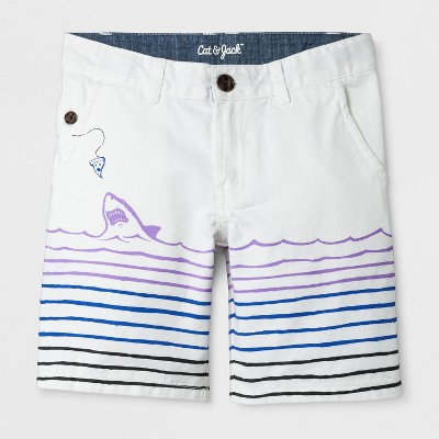 Boys' Shark Print Chino Shorts - Cat & Jack™ White