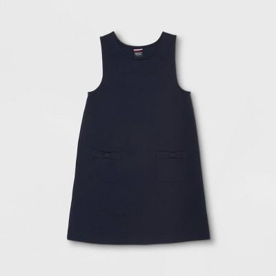 French Toast Girls' Knit Ponte Bow Pocket Uniform Jumper